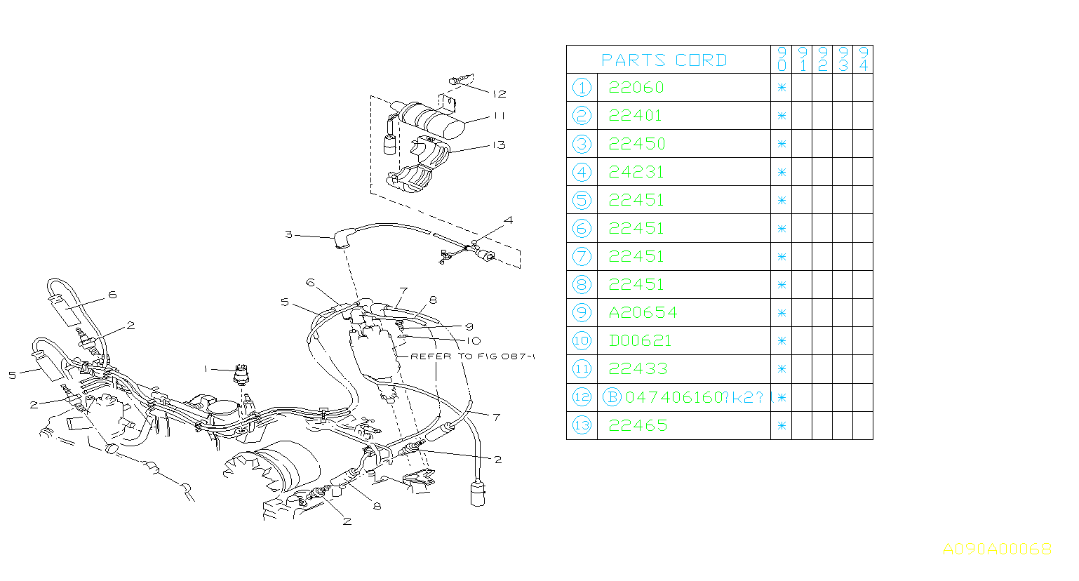 1990 subaru loyale cable complete-high tension  no 1   1  plug  spark  cord