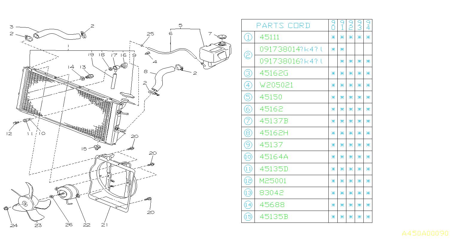 1993 Subaru Loyale Bolt  U0026 Washer Assembly  Engine  Cooling