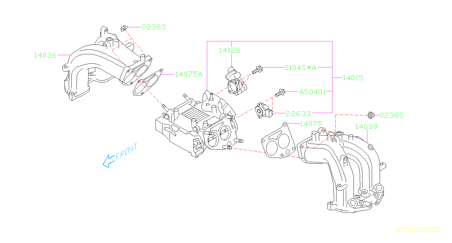 2005 subaru legacy motor assembly-intake manifold  body
