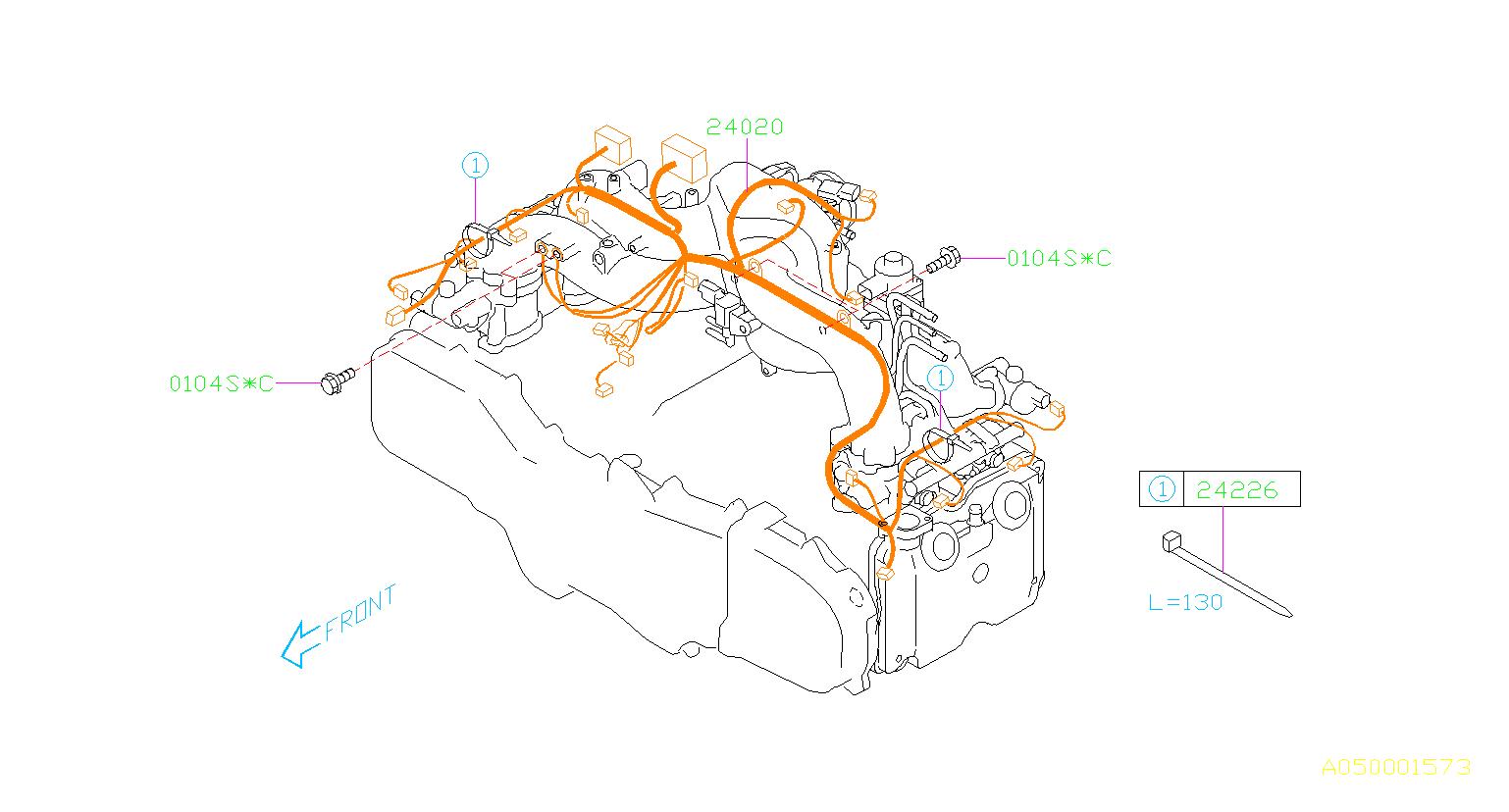 2005    Subaru    Outback Harnessengine    Wiring     manifold