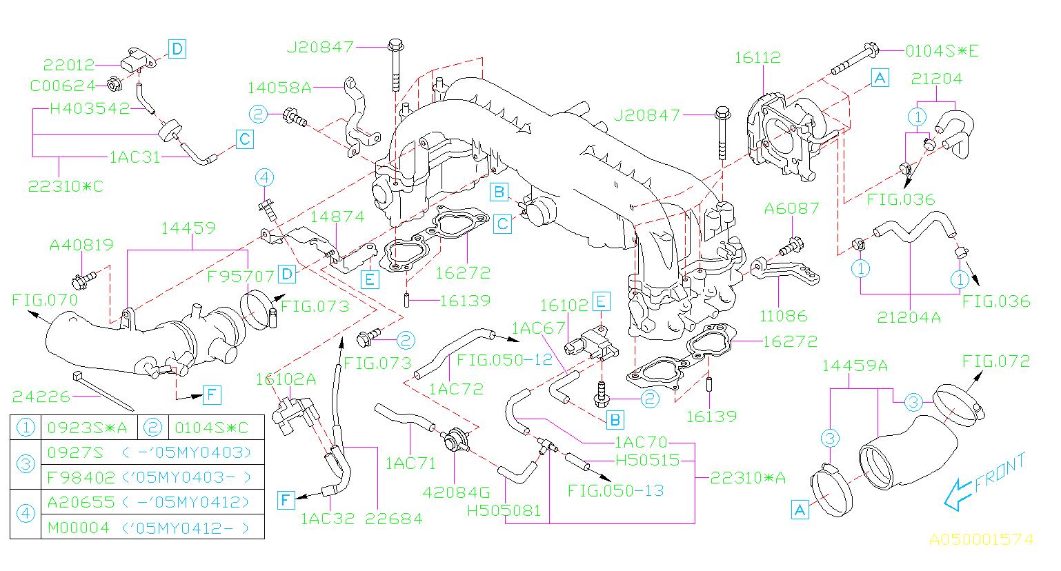 2006 Subaru Legacy Hose Vacuum  Intake  Manifold  Throttle