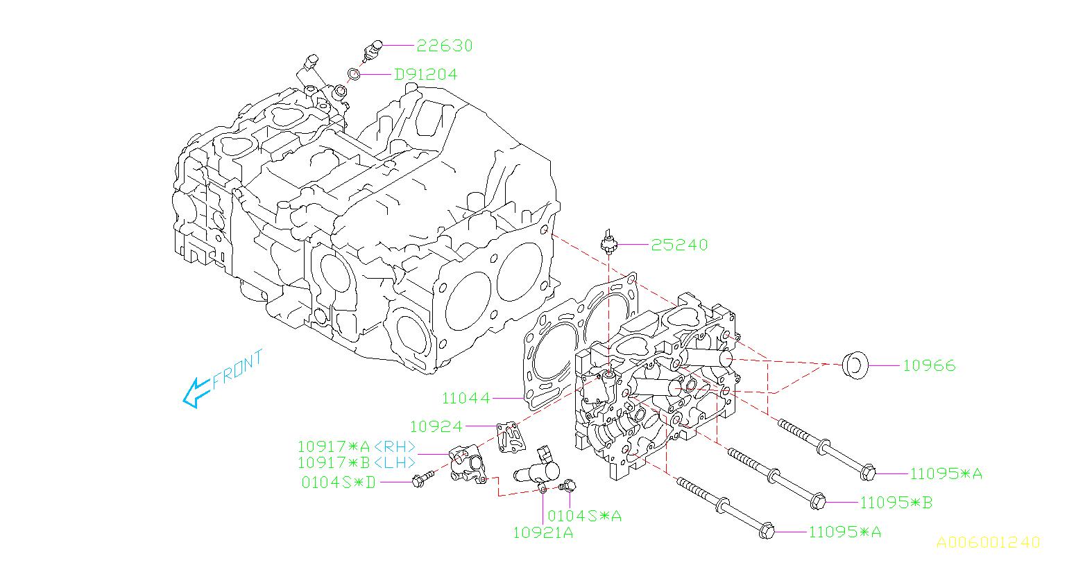 2010 subaru outback bolt assembly-cylinder head  system  engine  cooling