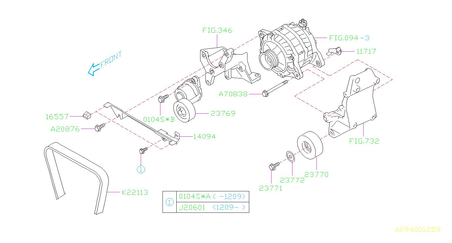 2012 Subaru Outback Serpentine Belt  Maintenance  Cyl  Kit