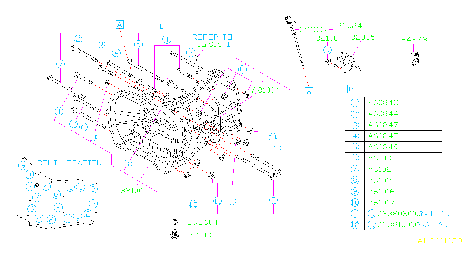 1993 Subaru Impreza Gauge Oil Level  Transmission  Case  Manual  Fitting