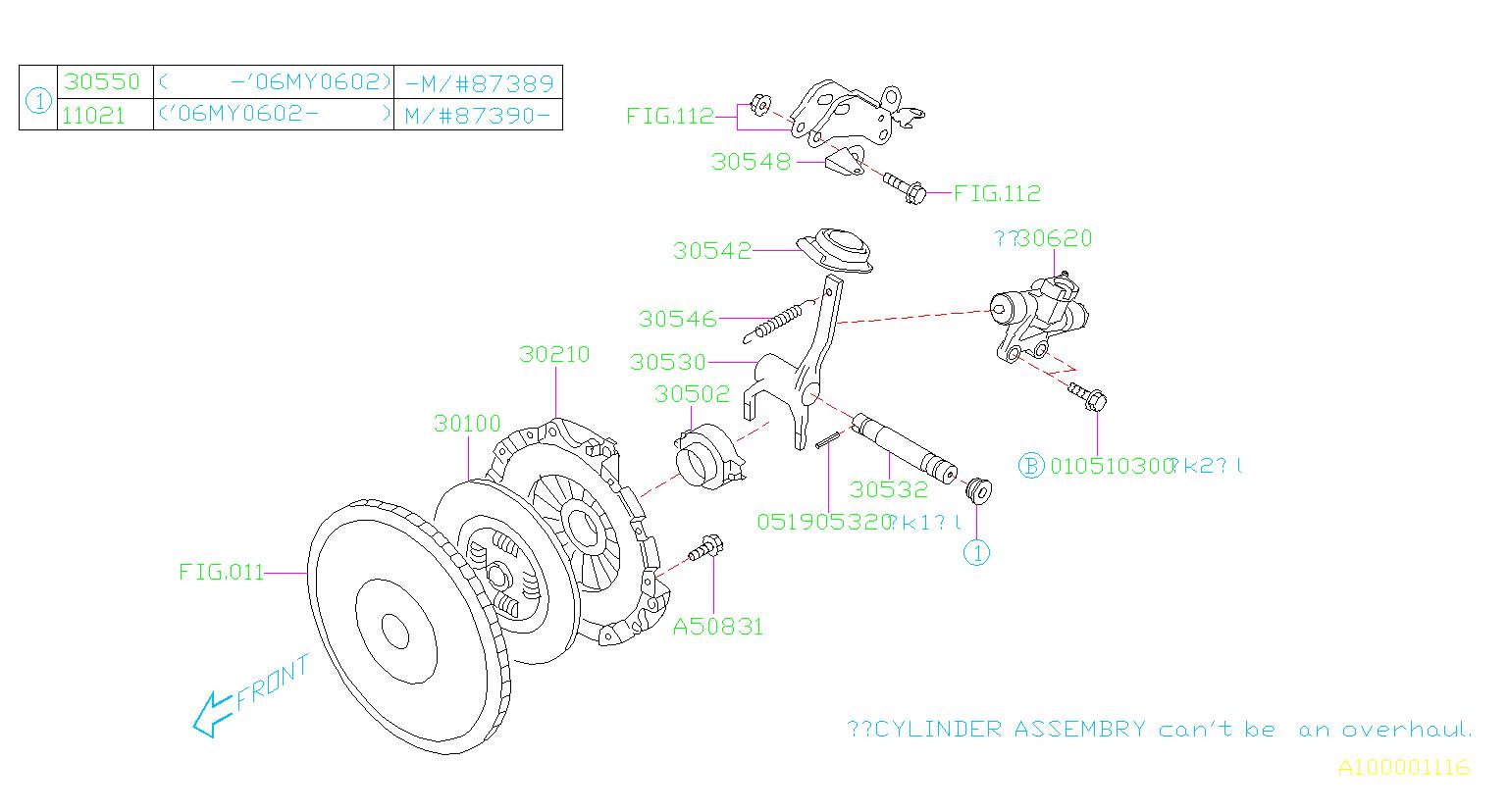2006 Subaru Impreza Clutch Release Bearing Shaft  Transmission  Manual  Maintenance