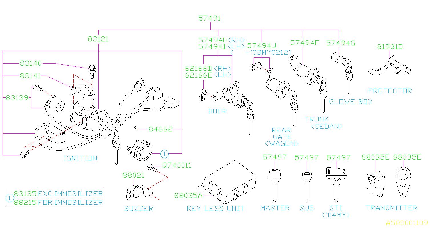 2004 Subaru Wrx Key Lock Set Door Left Kit Body