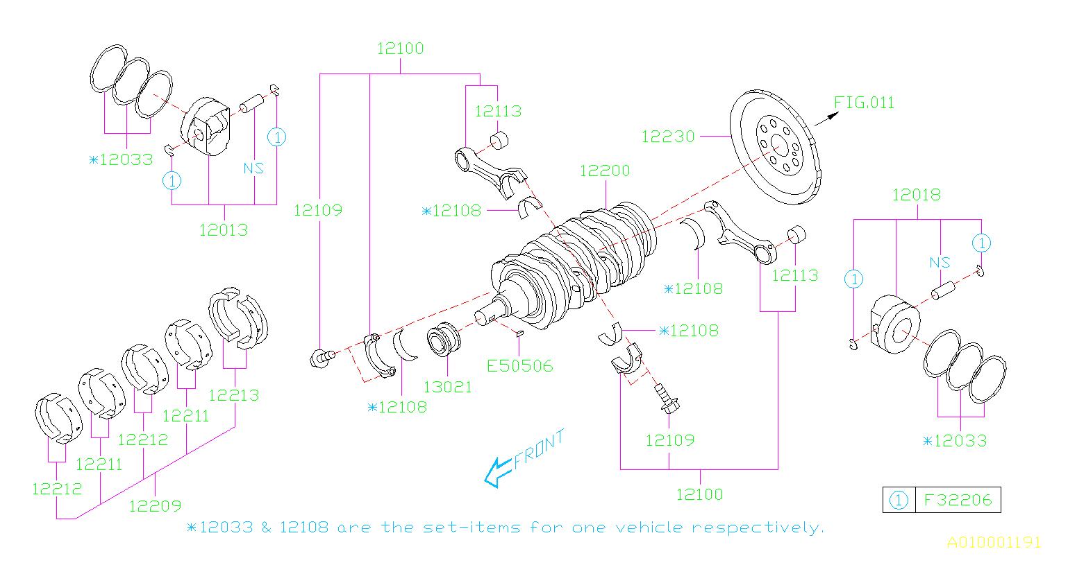 2014 subaru impreza piston set left engine crankshaft. Black Bedroom Furniture Sets. Home Design Ideas