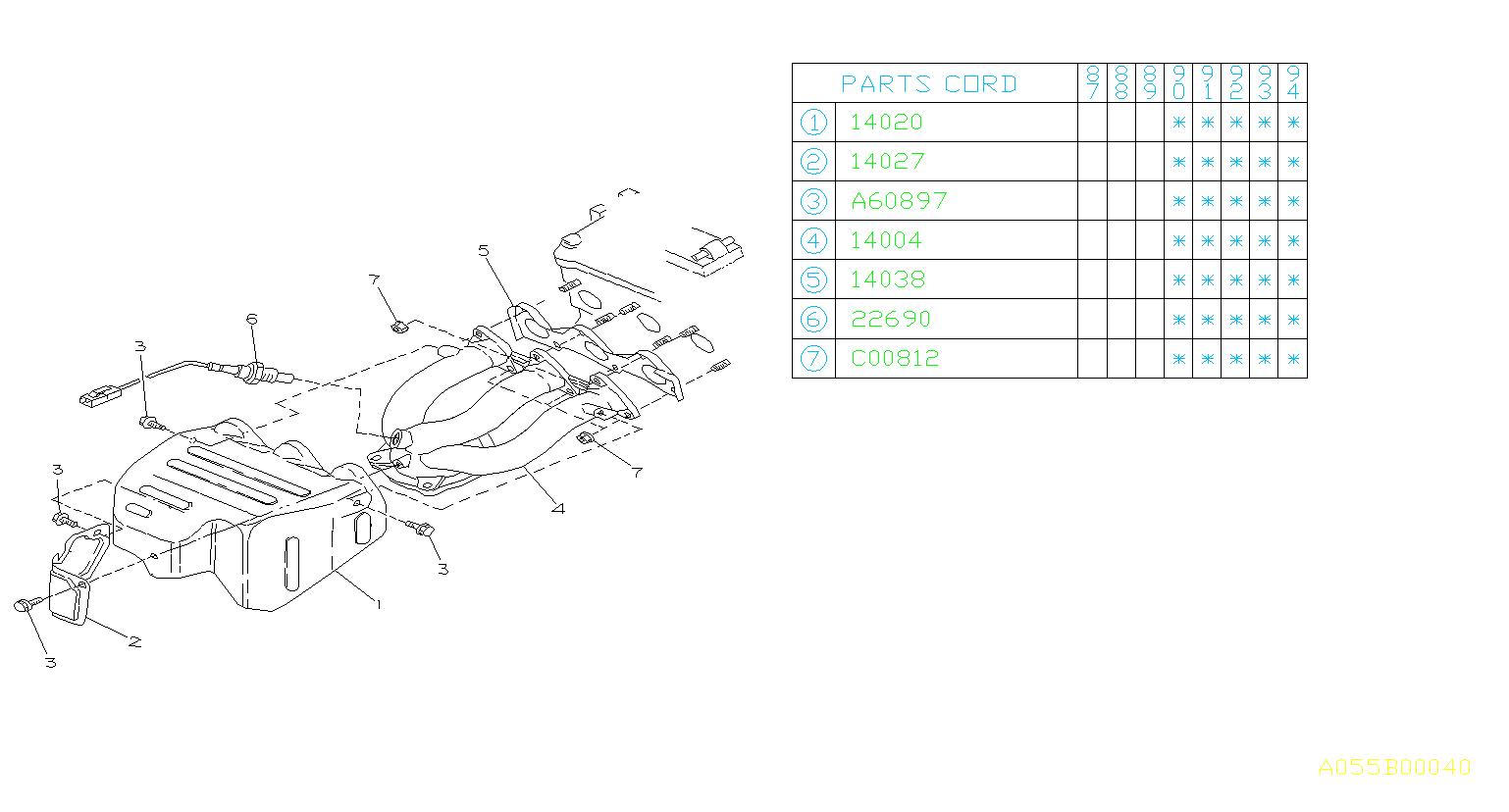 1990 Subaru Justy Nut  Manifold  Exhaust