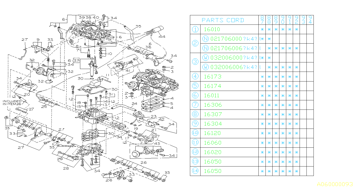 1987 Subaru Justy Float Set  Engine  Cooling  Carburetor