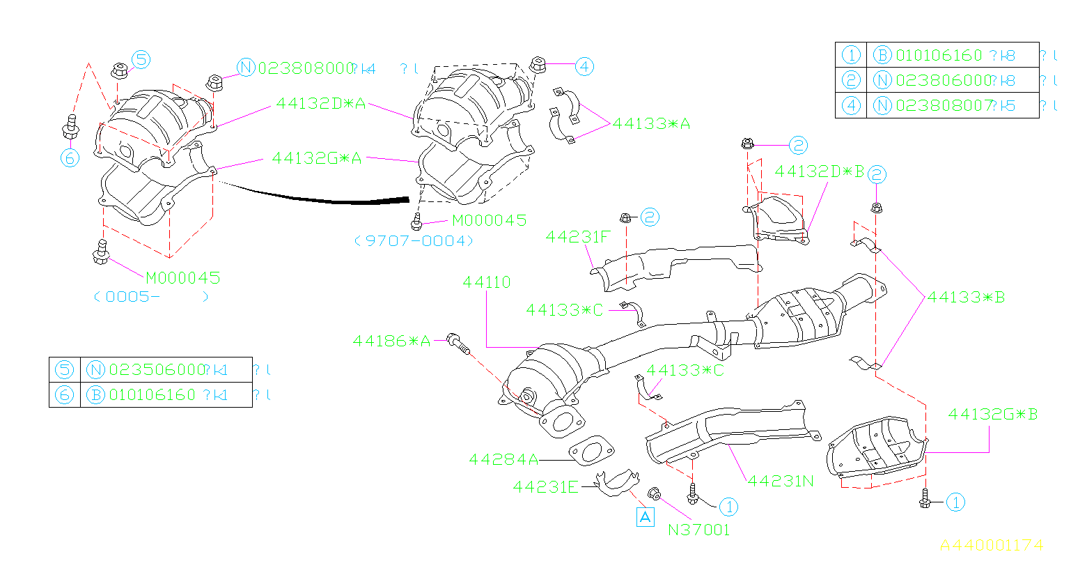 1998 Subaru Forester Catalytic Converter Heat Shield  Rear