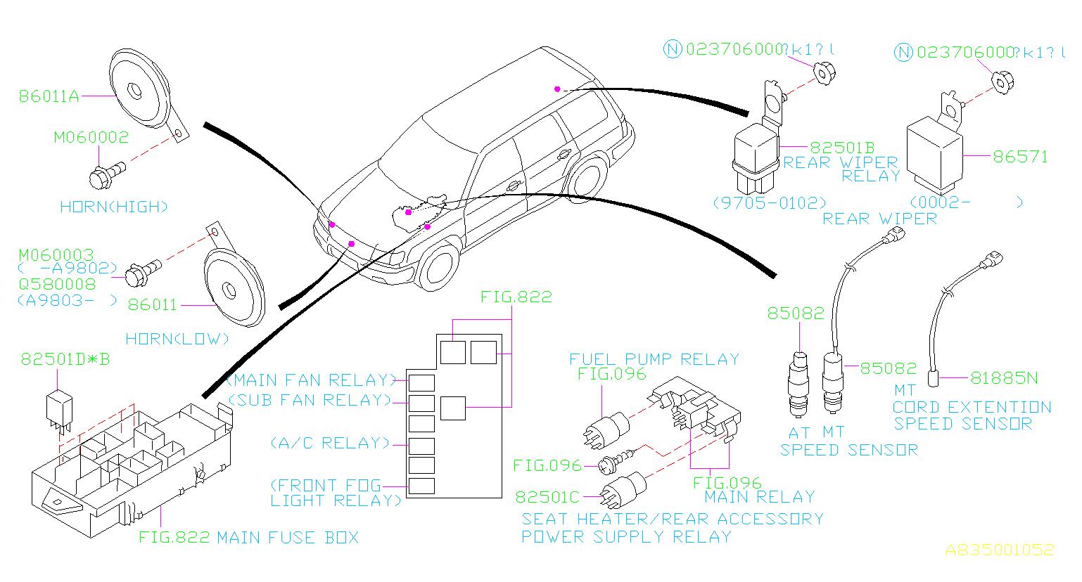 1998 Subaru Forester Vehicle Speed Sensor  Body