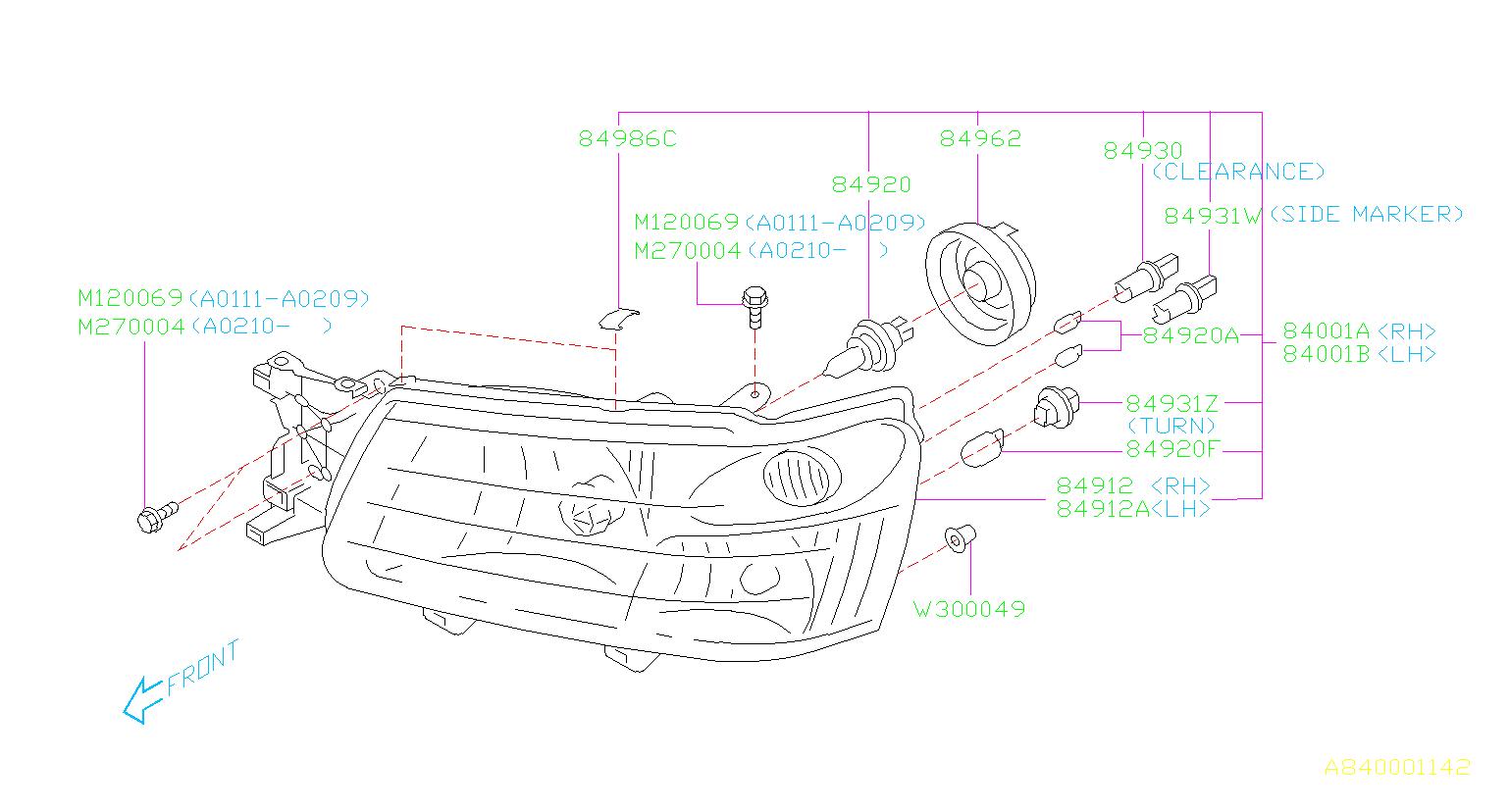 2003 Subaru Forester Headlight Fastener Clip