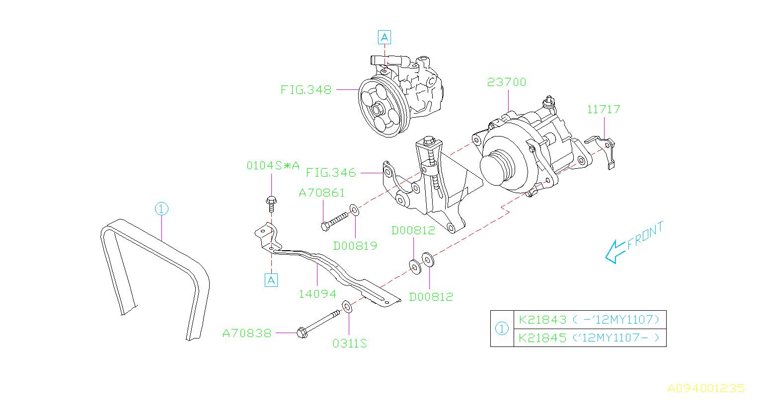 2013 Subaru Forester Accessory Drive Belt  V Belt 18x5x882