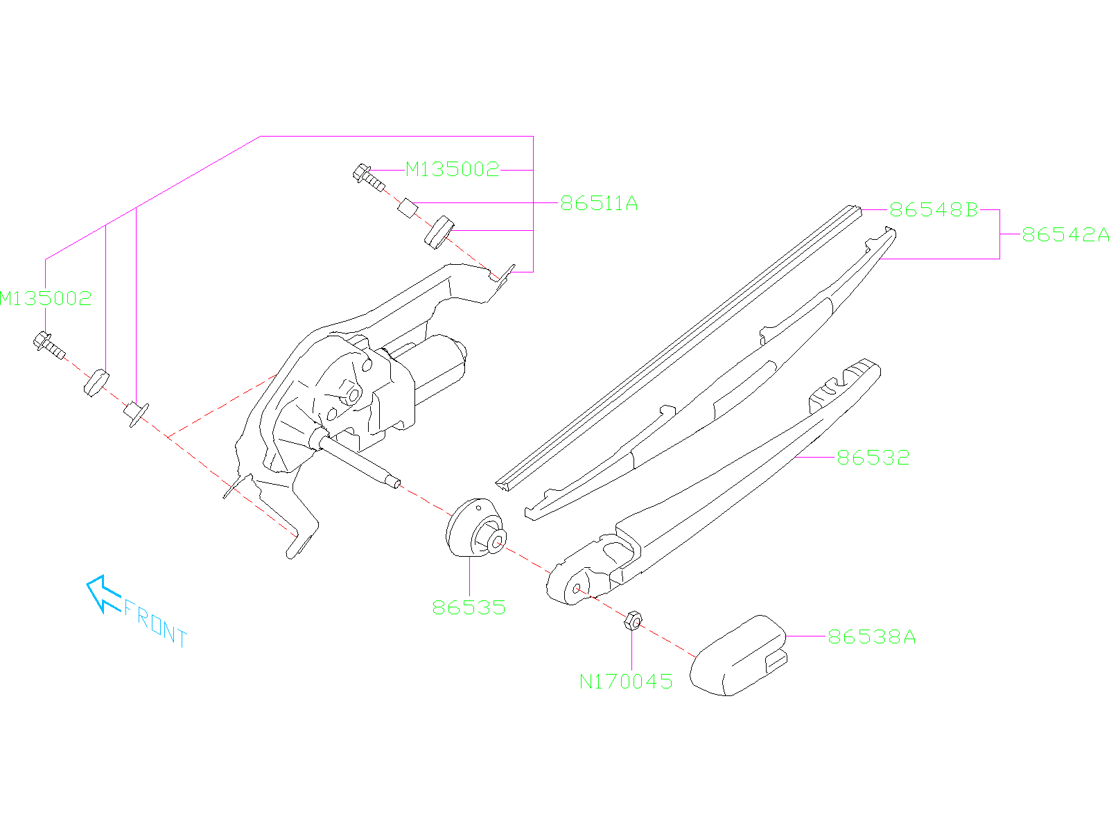 Subaru Forester Back Glass Wiper Arm  Rear   Electrical