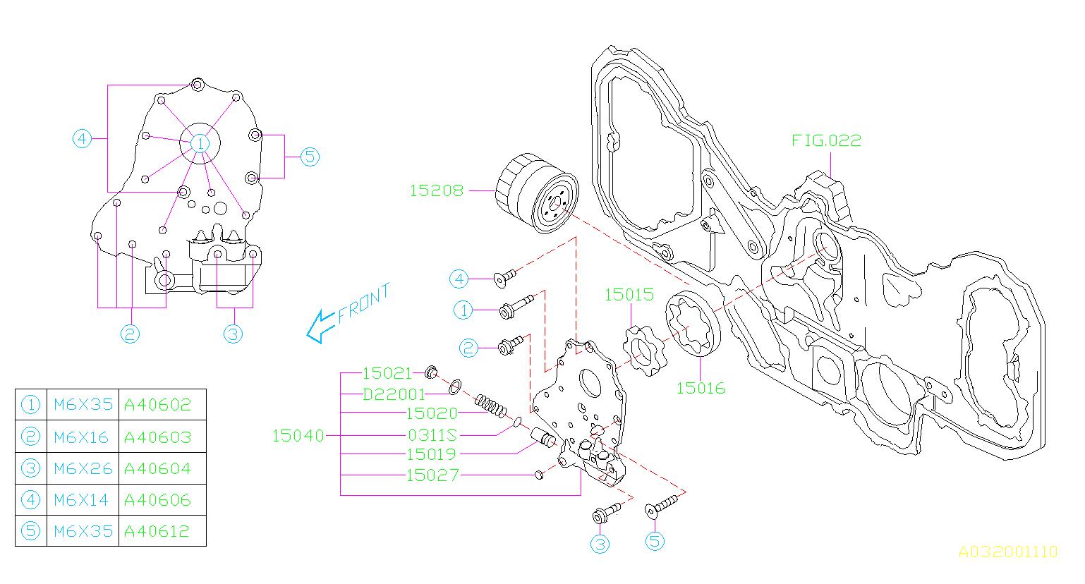 2006 Subaru Tribeca Bolt Socket  Pump  Oil  Filter  Engine