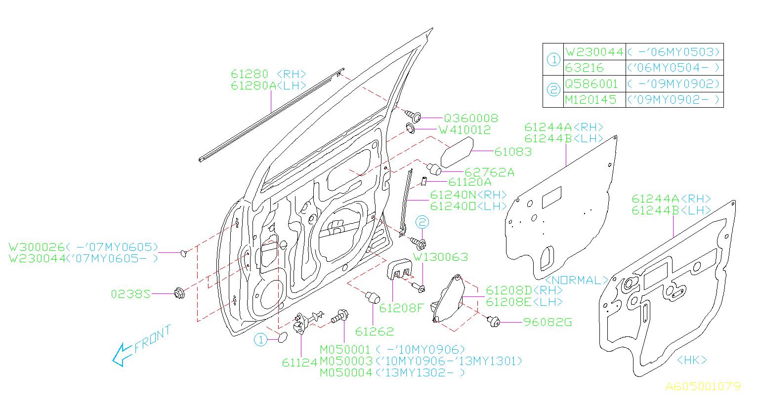 2014 Subaru Tribeca Clip Side Spoiler Door Panel Front